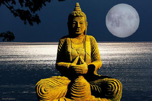 Meditating Statue Full Moon